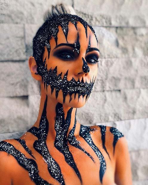 Glittery Pumpkin Makeup