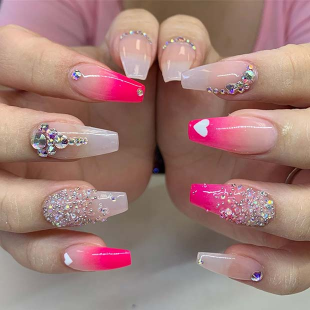 Glitzy Pink Nails with Crystals