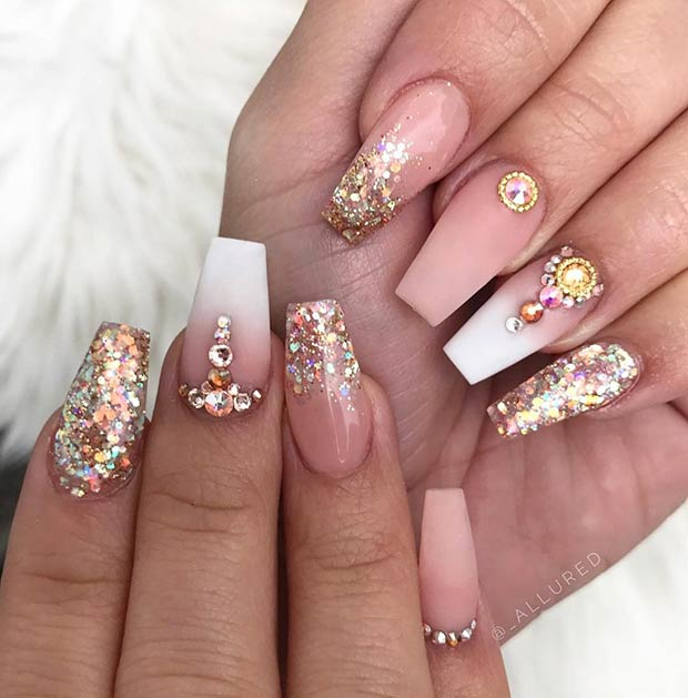 Gold Glitter and Matte Nude Nails