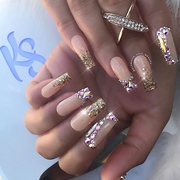 Gold Nails with Diamonds