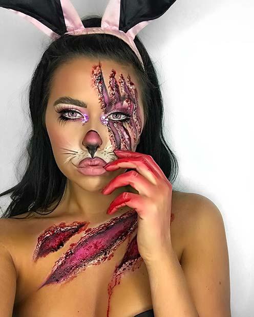 Gory Bunny Makeup Idea
