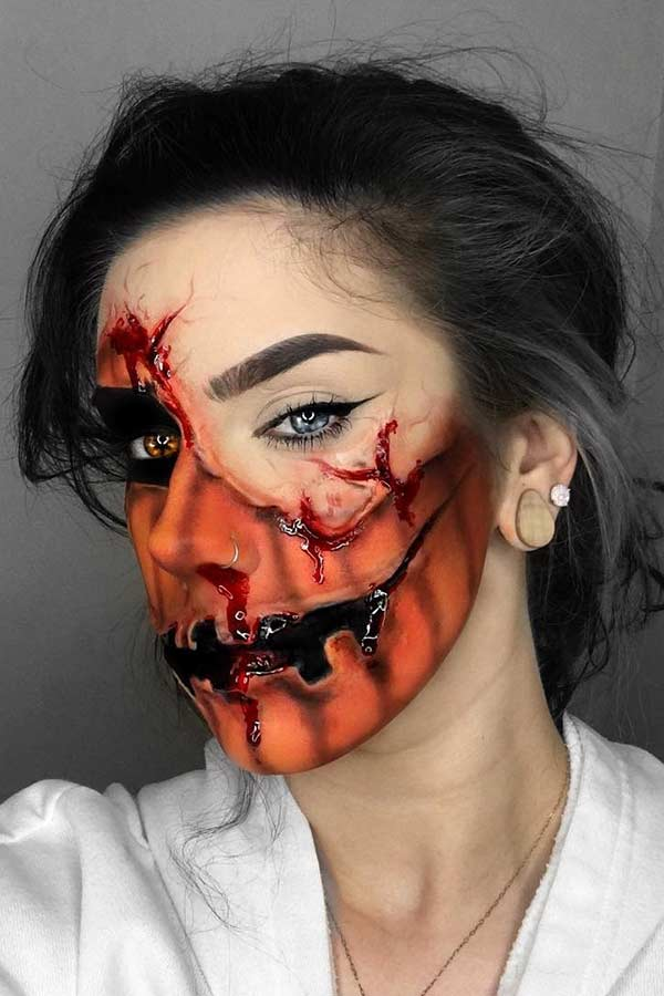 Gory Pumpkin Makeup for Halloween