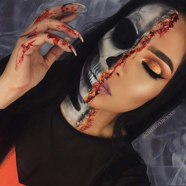 Gory Skeleton Makeup for Halloween