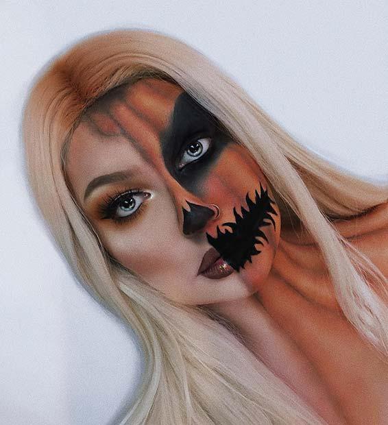 Half Pumpkin, Half Human Makeup