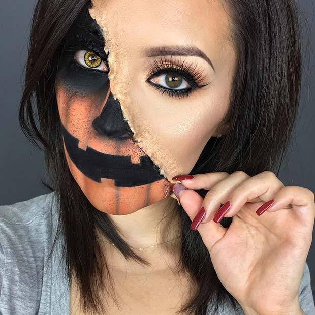 Half Pumpkin Halloween Makeup