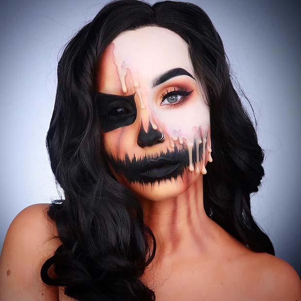 Half Pumpkin Makeup with Drips