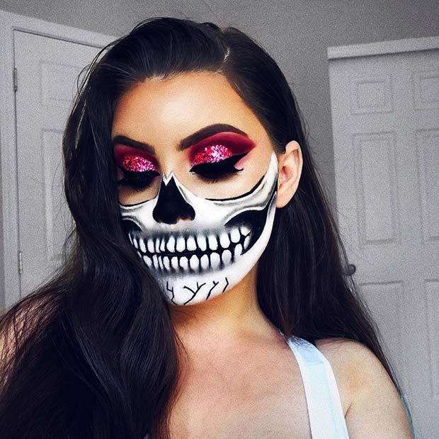 Half Skeleton Makeup with Glam Eyes