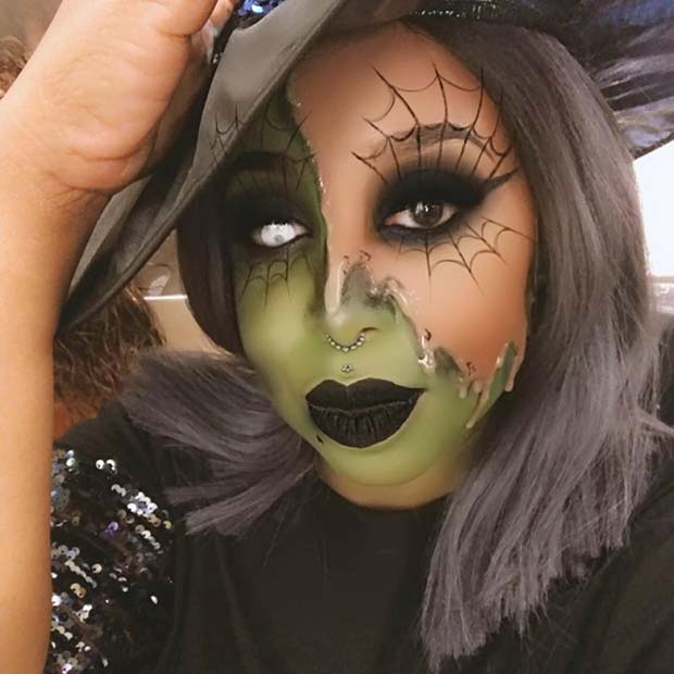 Half Witch Makeup Idea