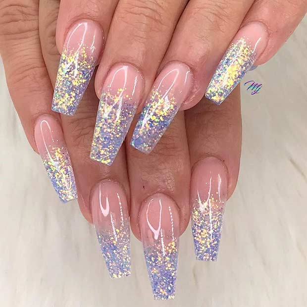 Holographic Glitter Ombre Nails