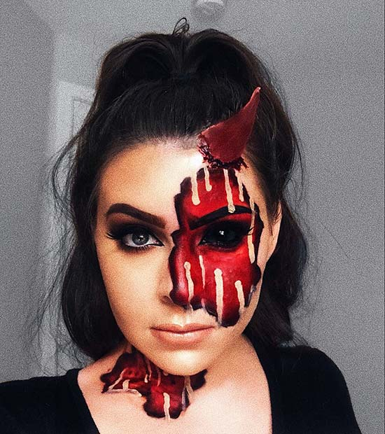 Illusion Half Devil Makeup