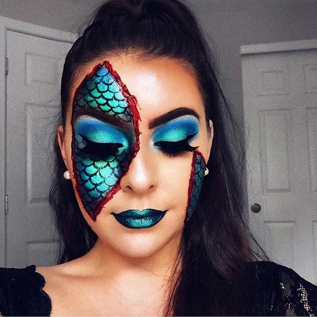 Illusion Half Mermaid Makeup