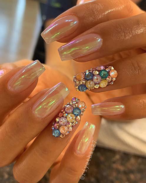 Iridescent Nails with Beautiful Diamonds
