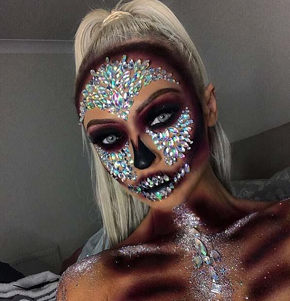 Magical Skeleton Makeup with Rhinestones