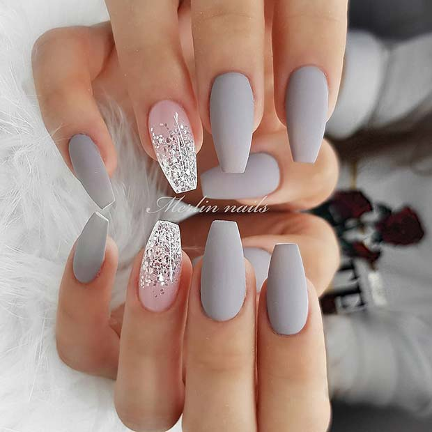 Matte Grey Nails with a Glitter Ombre Design