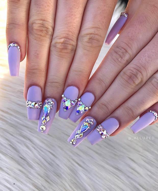 Matte Purple Nails with Diamonds