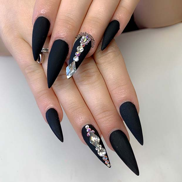 Matte Stiletto Nails with Diamonds