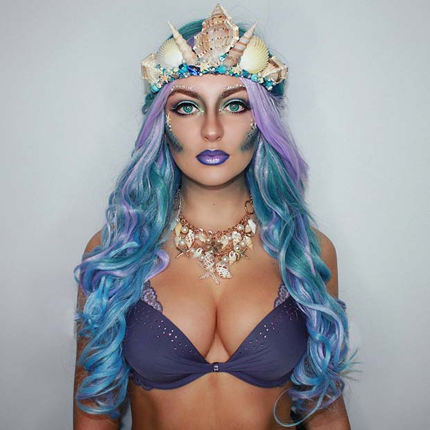 Mermaid Makeup and Costume Idea
