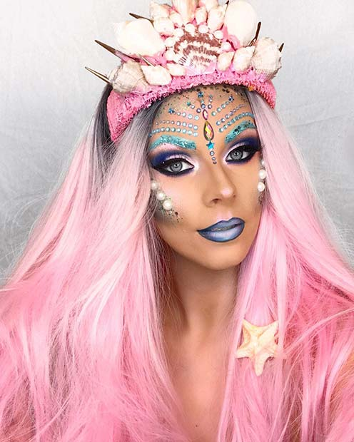 Mermaid Makeup with Pearls