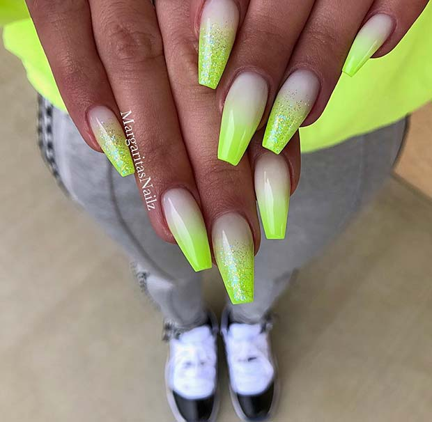 Neon Ombre Nails with Sparkle