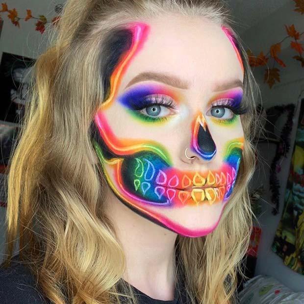 Neon Skeleton Makeup Idea