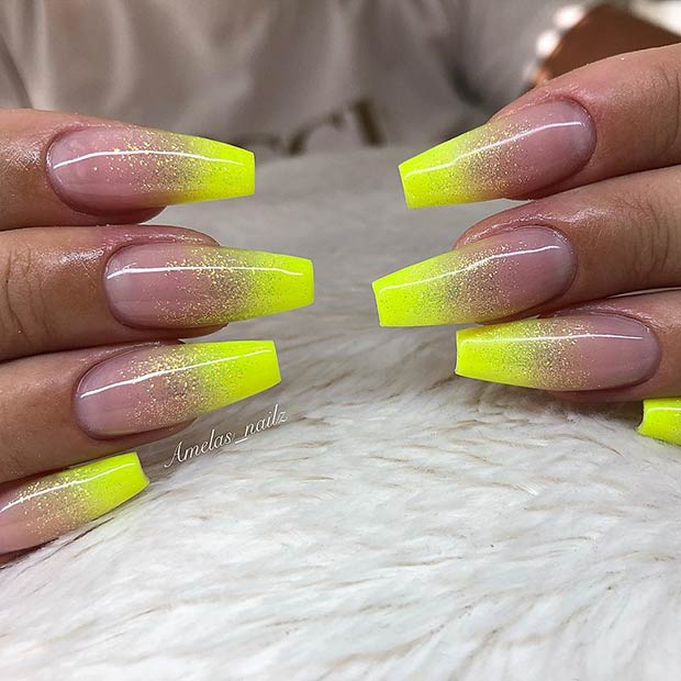 Neon Yellow Ombre Nails with Glitter