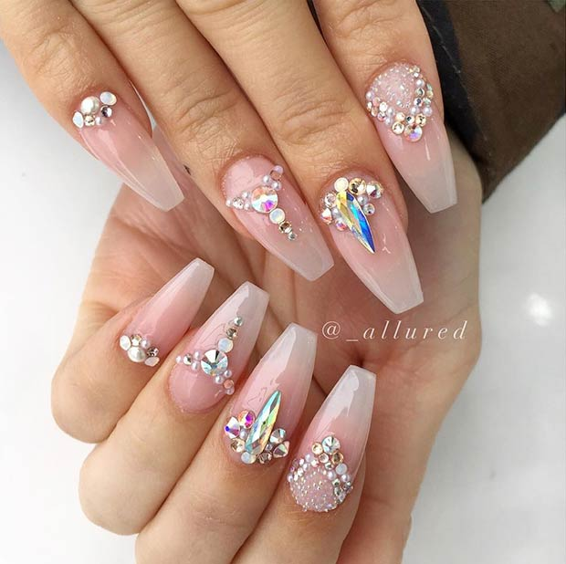 Nude Coffin Nails with Rhinestones
