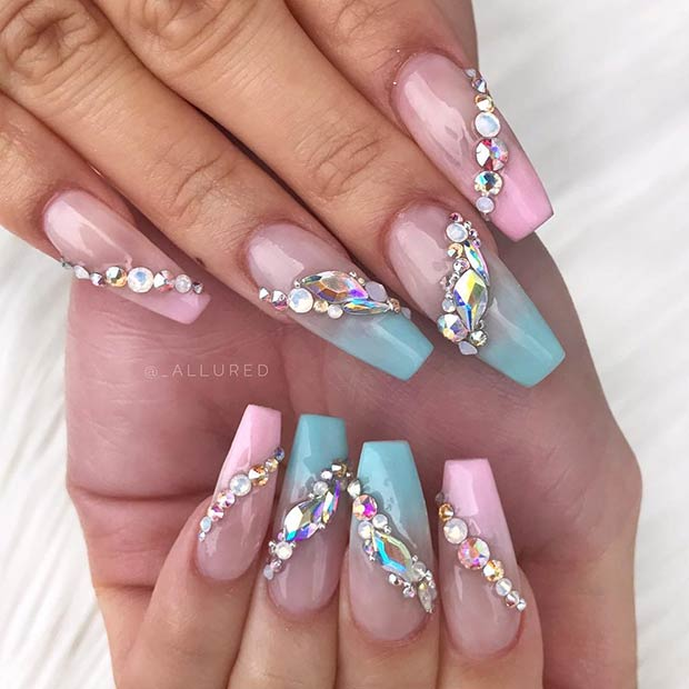 Ombre Nail Design with Rhinestones