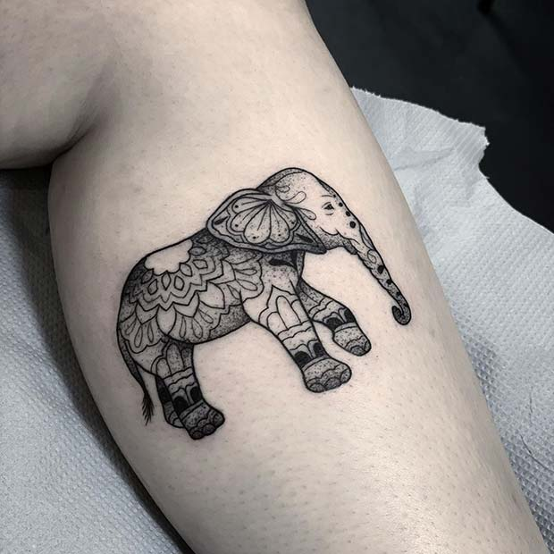 Patterned Elephant Tattoo Idea