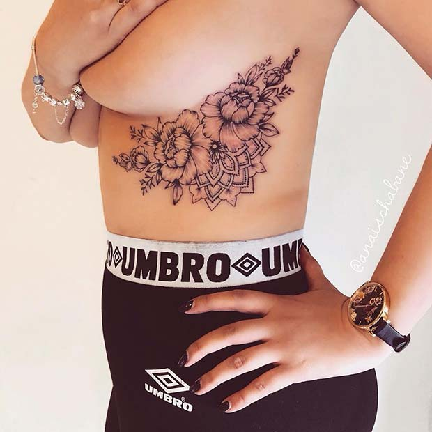 Peony and Mandala Underboob Tattoo