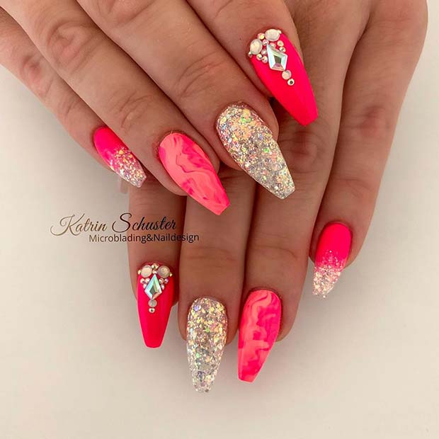 Pink Coffin Nails with Diamonds and Marble Art