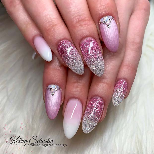Pink and Silver Glitter Ombre Design