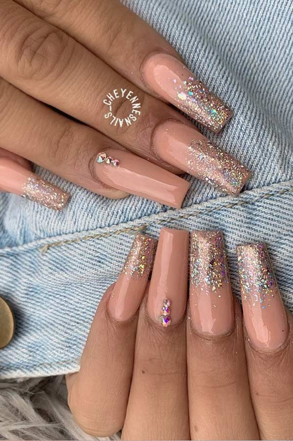 Pretty Nude Nails with Glitter