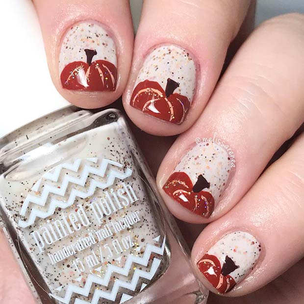 Pretty Pumpkin Design for Short Nails
