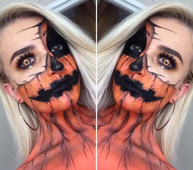 Pumpkin Face and Body Makeup Idea