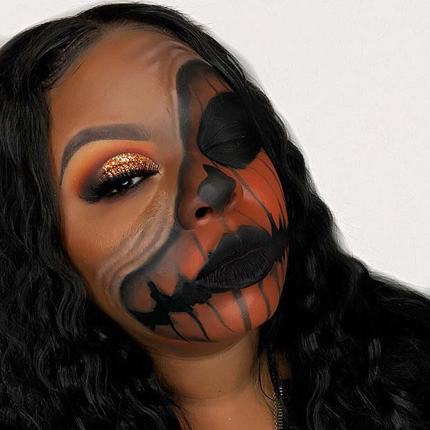 Pumpkin Makeup with an Illusion and Glam Eyes