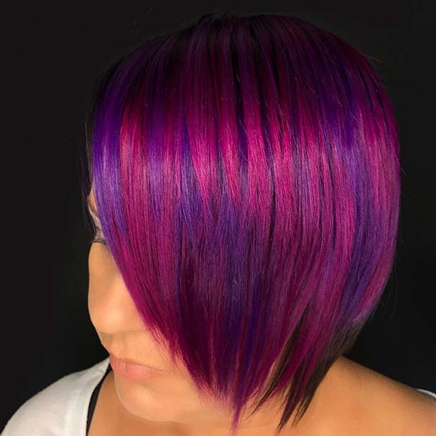 Pink Hair with Purple Highlights