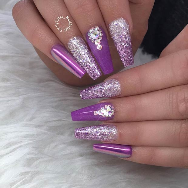 Purple and Silver Glitter Coffin Nails