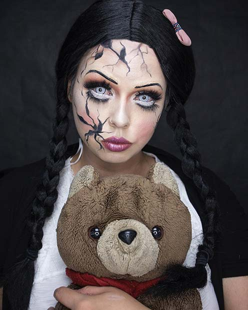 Scary Doll Makeup for Halloween