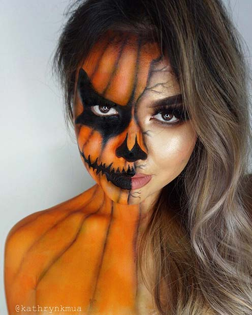Scary Pumpkin Face and Body Makeup