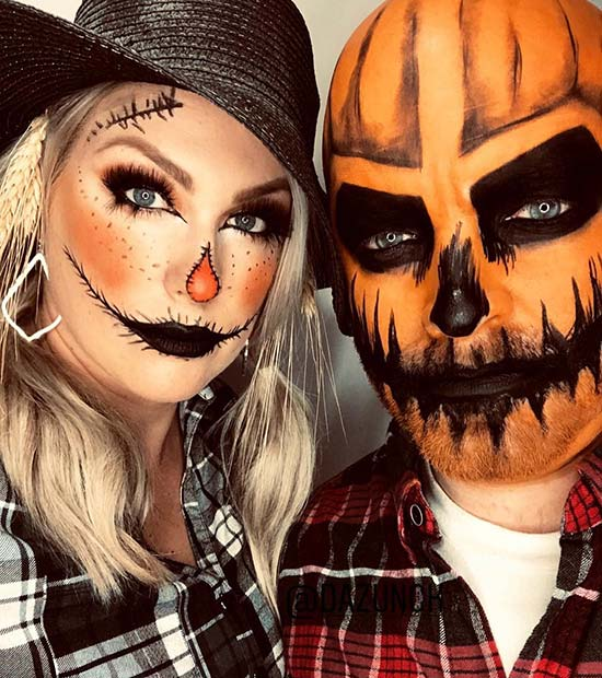 Scary Pumpkin and Scarecrow Couples Costume