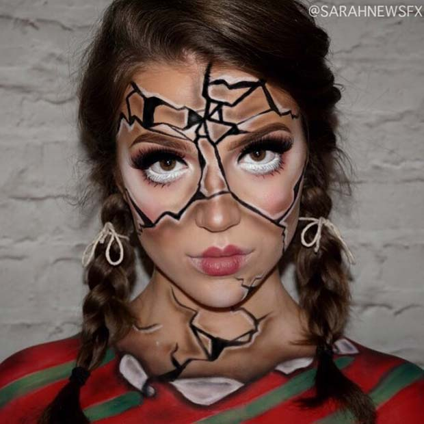 Shattered Doll Illusion Makeup