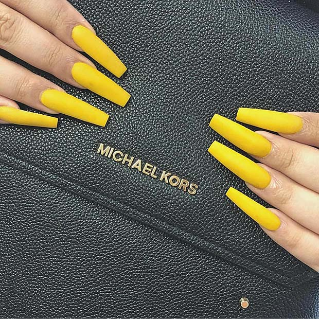 Matte Yellow Acrylic Nails