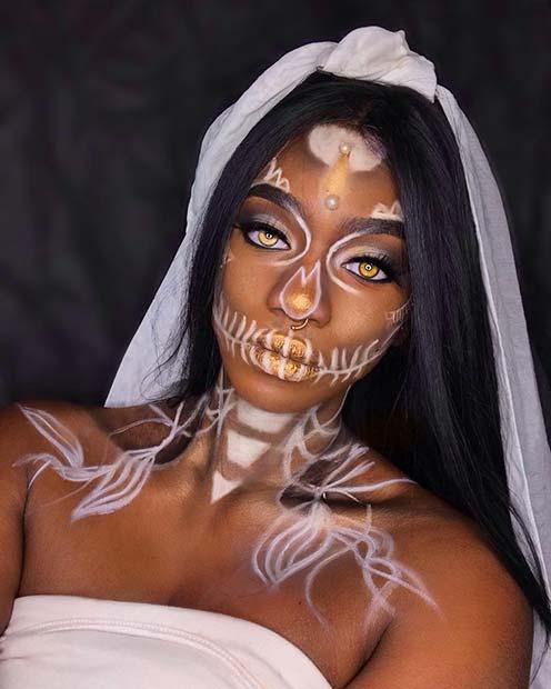 Skeleton Bride Makeup and Costume Idea