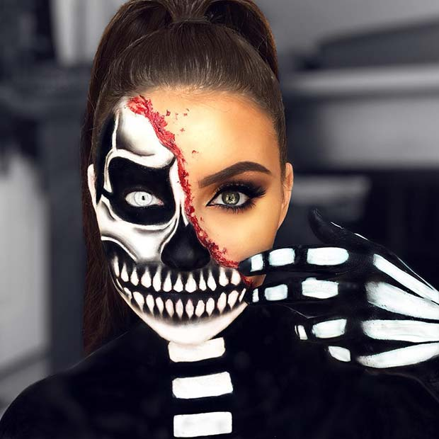 Skeleton Face and Body Makeup Idea