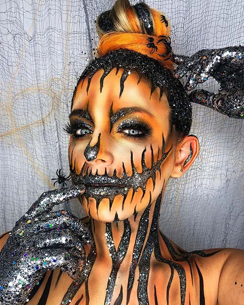 Sparkly Pumpkin Makeup
