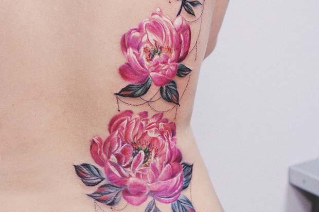 Stunning Peonies Back Tattoo