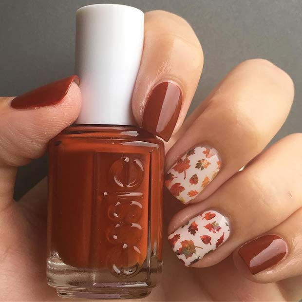 Stylish Fall Nails with Leaves