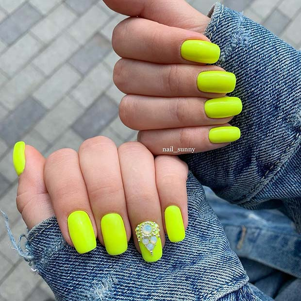 Stylish Neon Nails with Gems