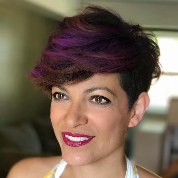 Мелирование на Фиолетовые Короткие Волосы