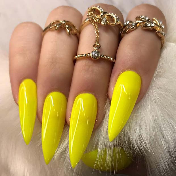 Stiletto Yellow Acrylic Nails
